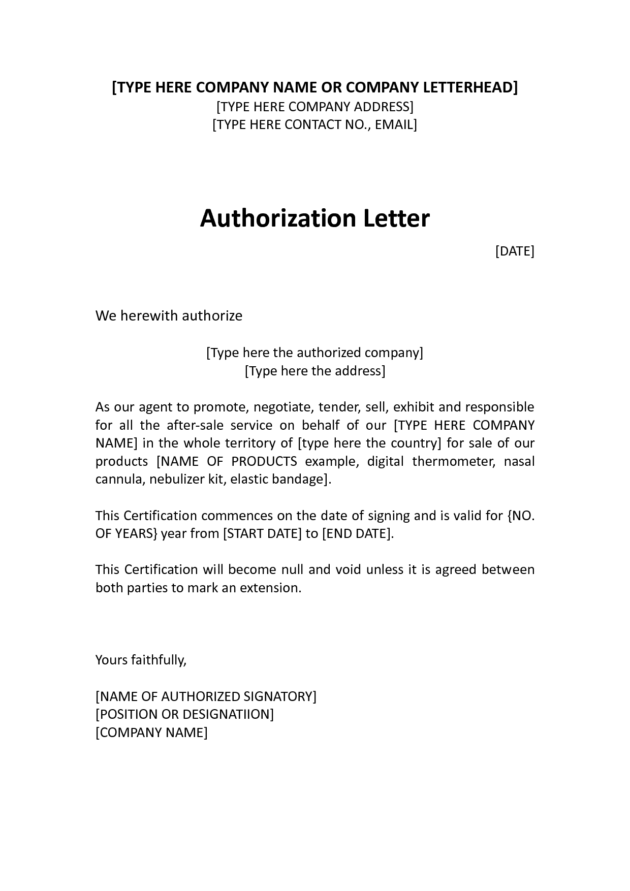Child Care Authorization Letter Template - Authorization Distributor Letter Sample Distributor Dealer