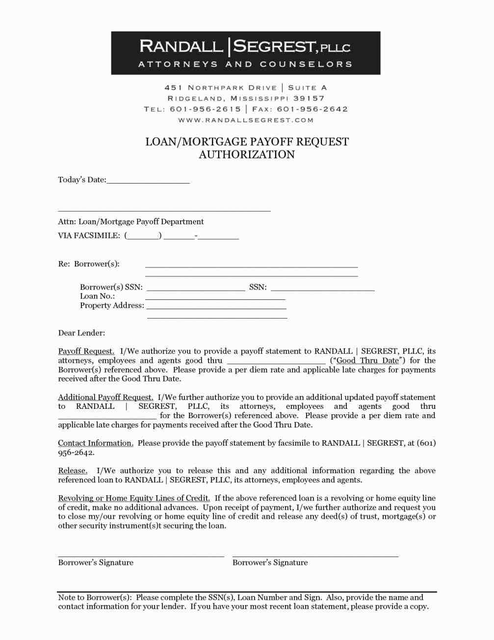 Mortgage Payoff Letter Template - Authorization Letter Sample to Process Documents Fresh 8