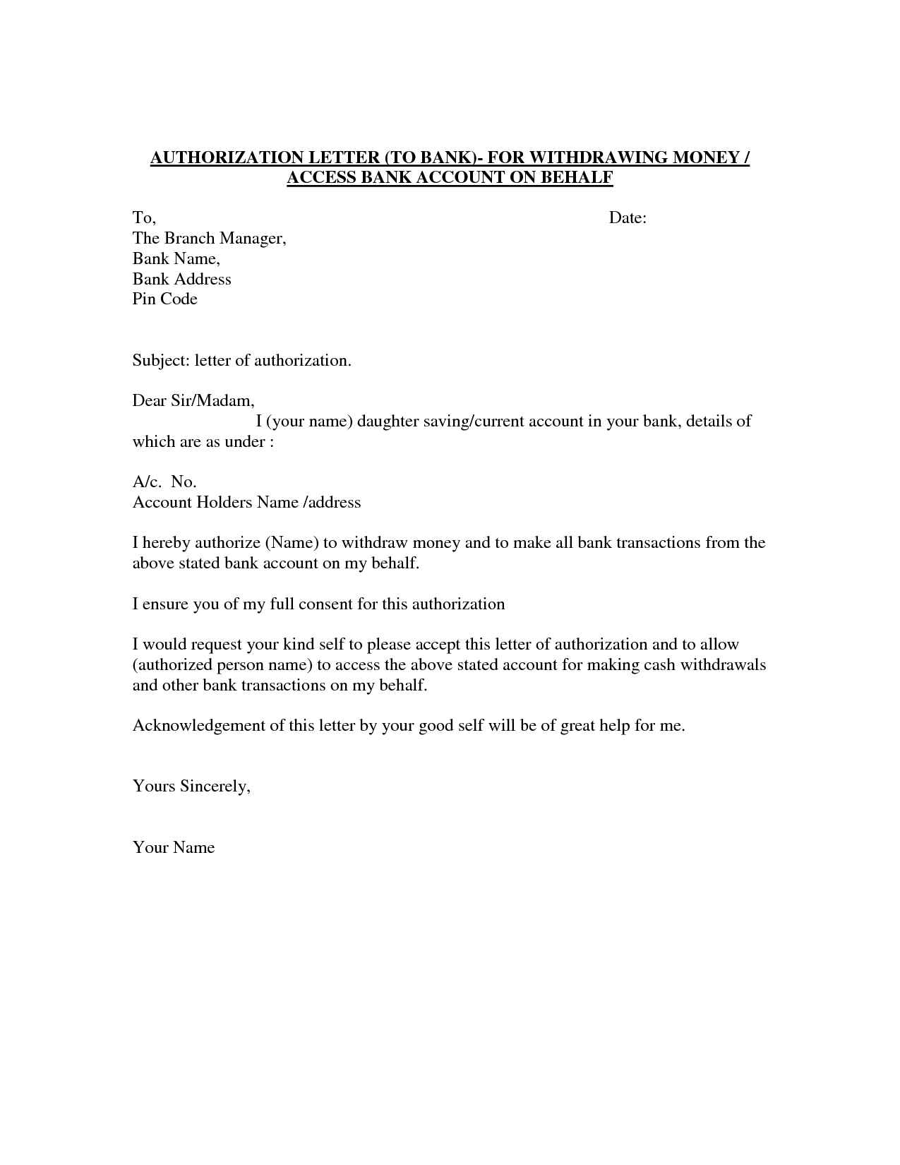 Cash Out Letter Template - Authorization Letter Template Best Car Galleryformal Letter