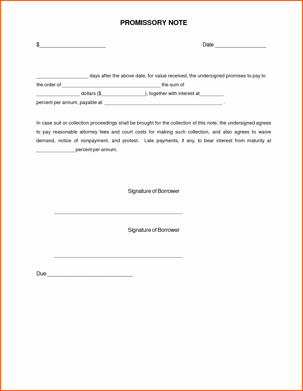 demand letter promissory note template