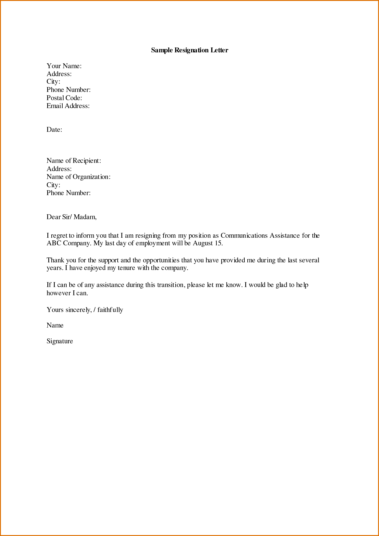 Resignation Letter Template - Awesome Letter Template Resignation