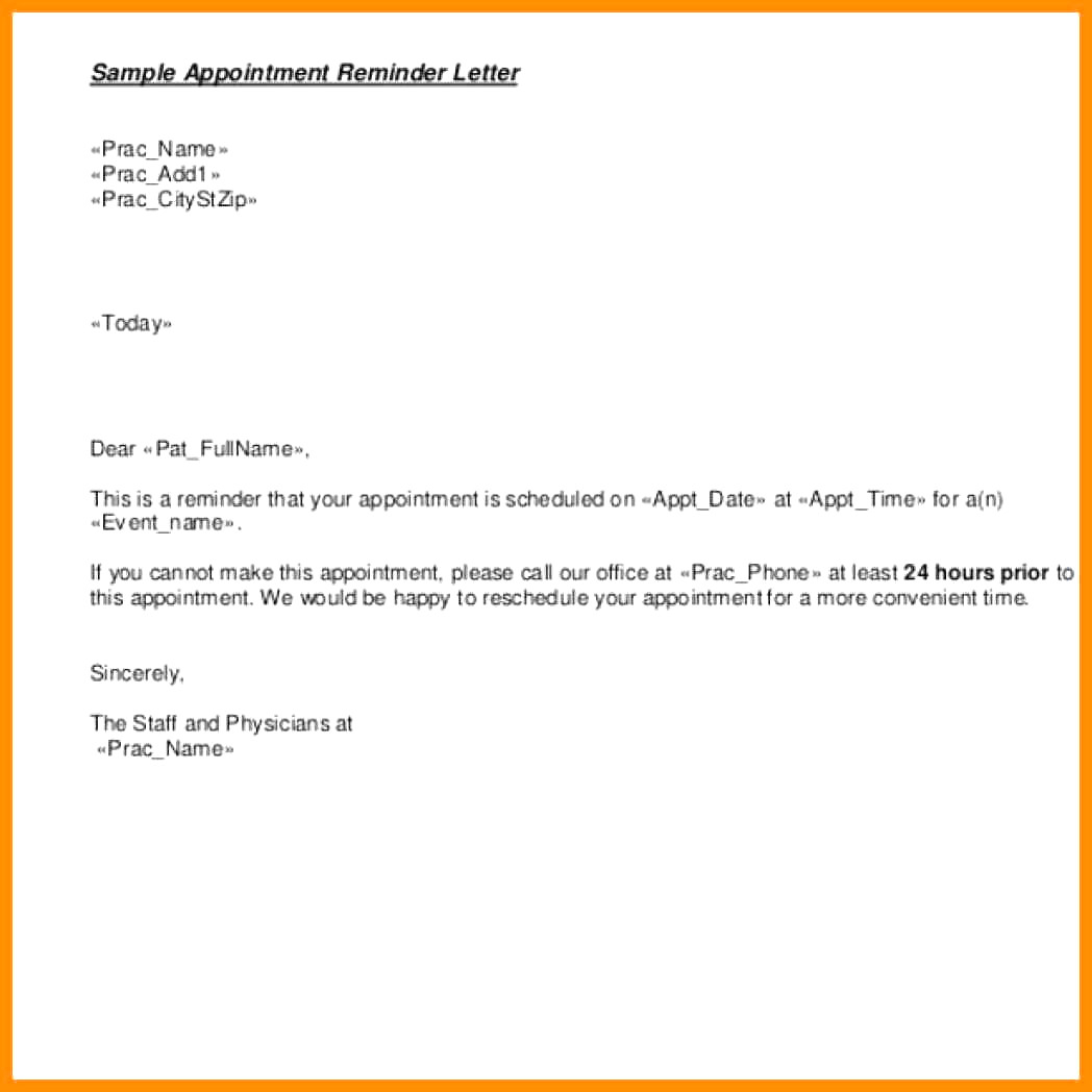 Appointment Reminder Letter Template Medical - Awesome Reminder Templates Example Resume Ideas