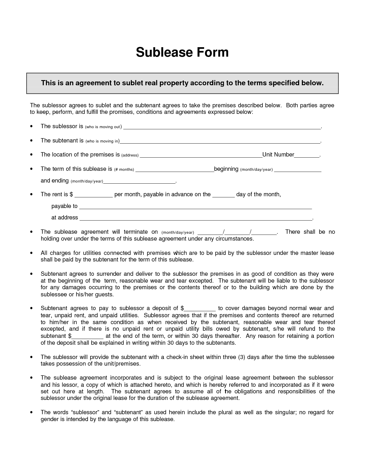 sublet letter template example-Awesome Sublease Template 3-b