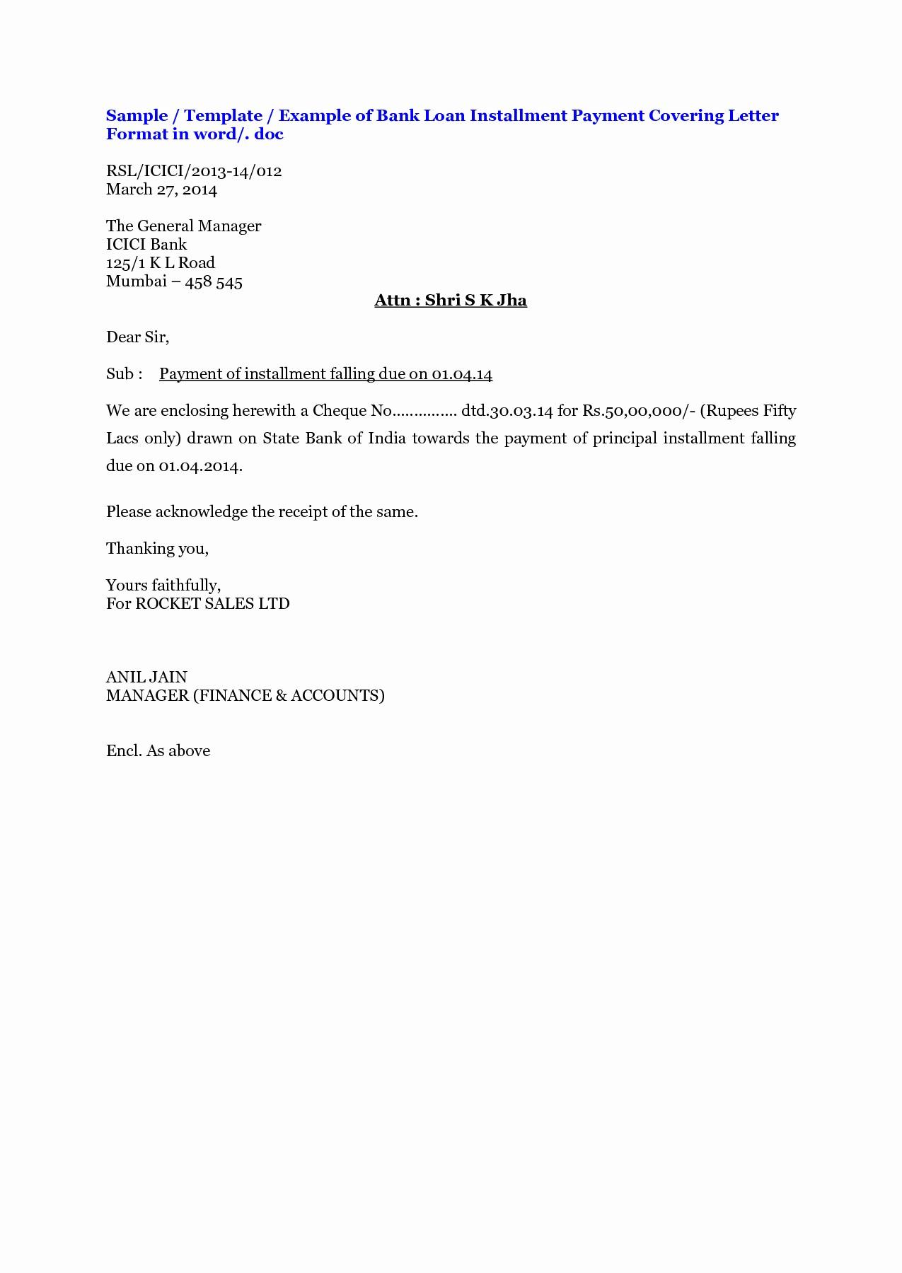 Loan Repayment Letter Template - Bank Loan Repayment Letter format
