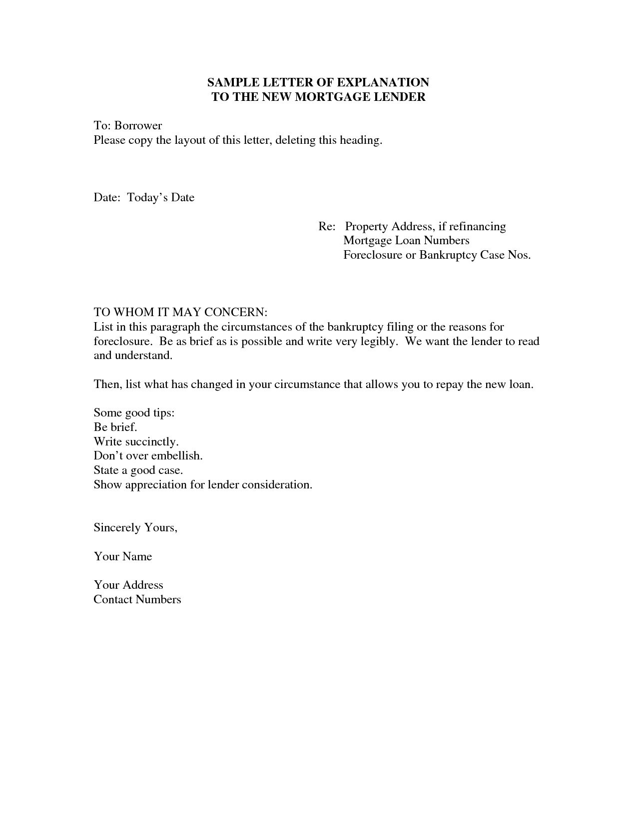 Free foreclosure Letter Template - Bankruptcy Letter Explanation Template