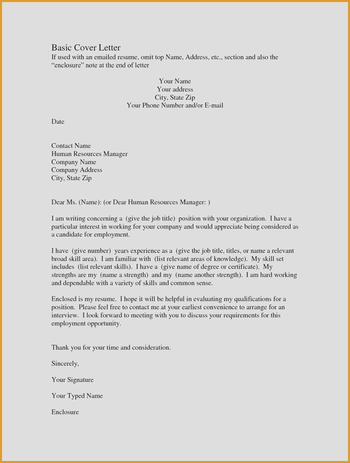 Quick Cover Letter Template - Basic Cover Letters for Resumes Example Cover Letter for Resume