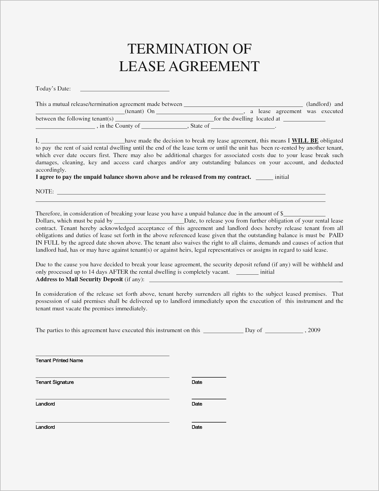 Breaking Lease Agreement Letter Template Collection