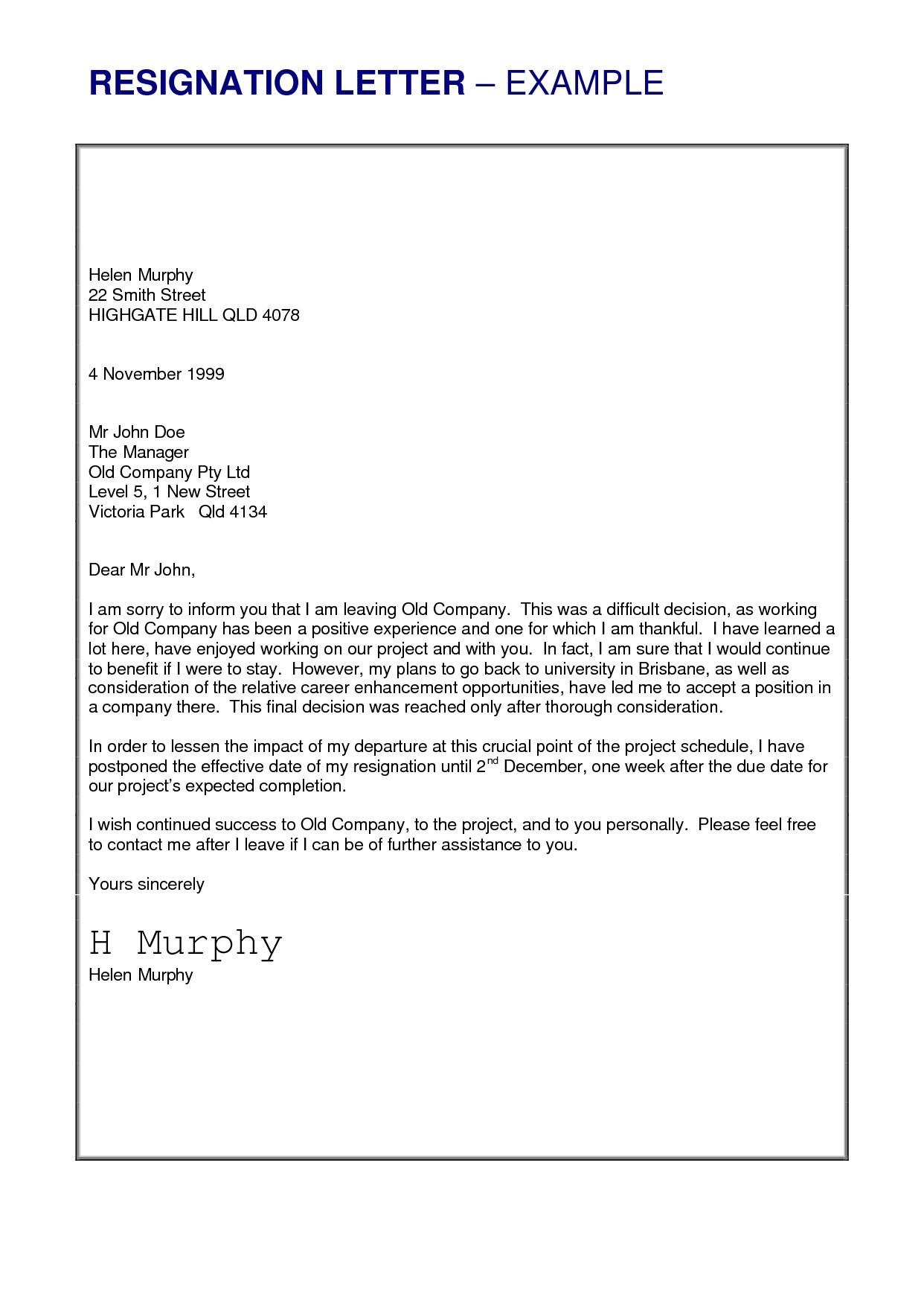 letter of resignation letter template examples letter template