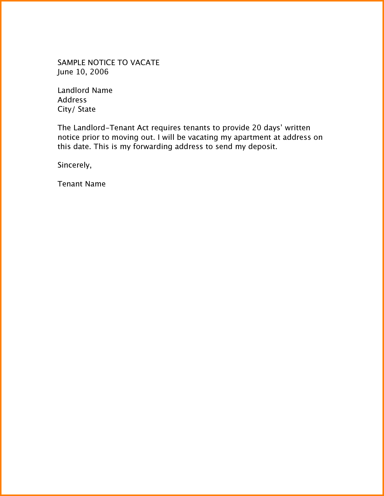 Notice To Vacate Apartment Letter Template Collection