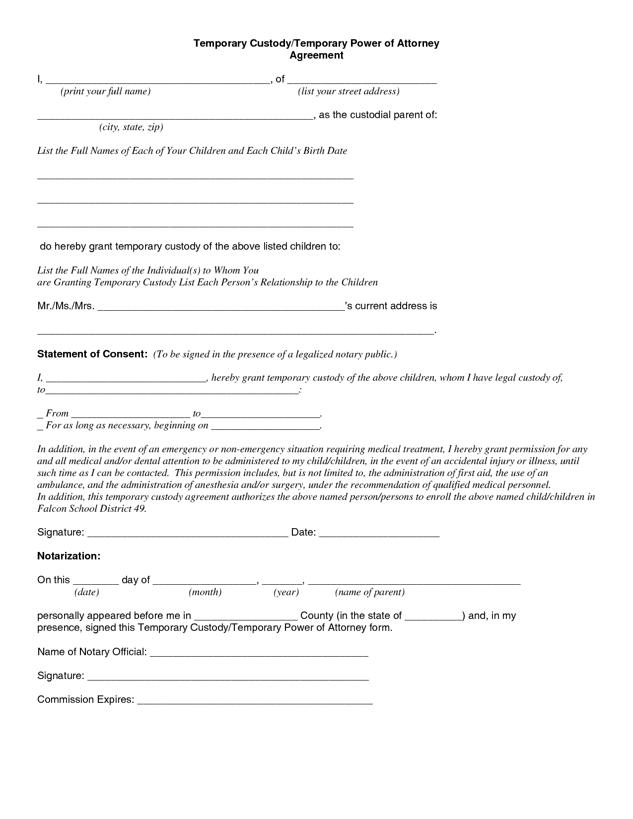 Temporary Custody Letter Template - Beautiful Parent Child Contract Templates Free Download