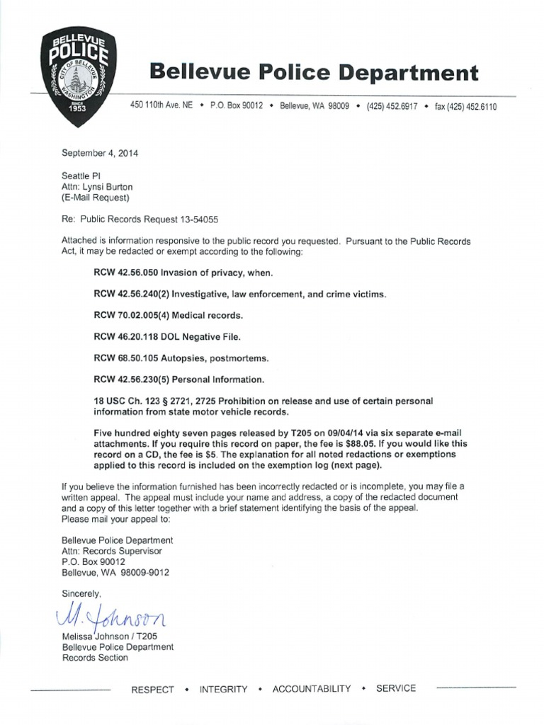 Criminal Record Disclosure Letter Template - Bellevue Police Department Case No 13