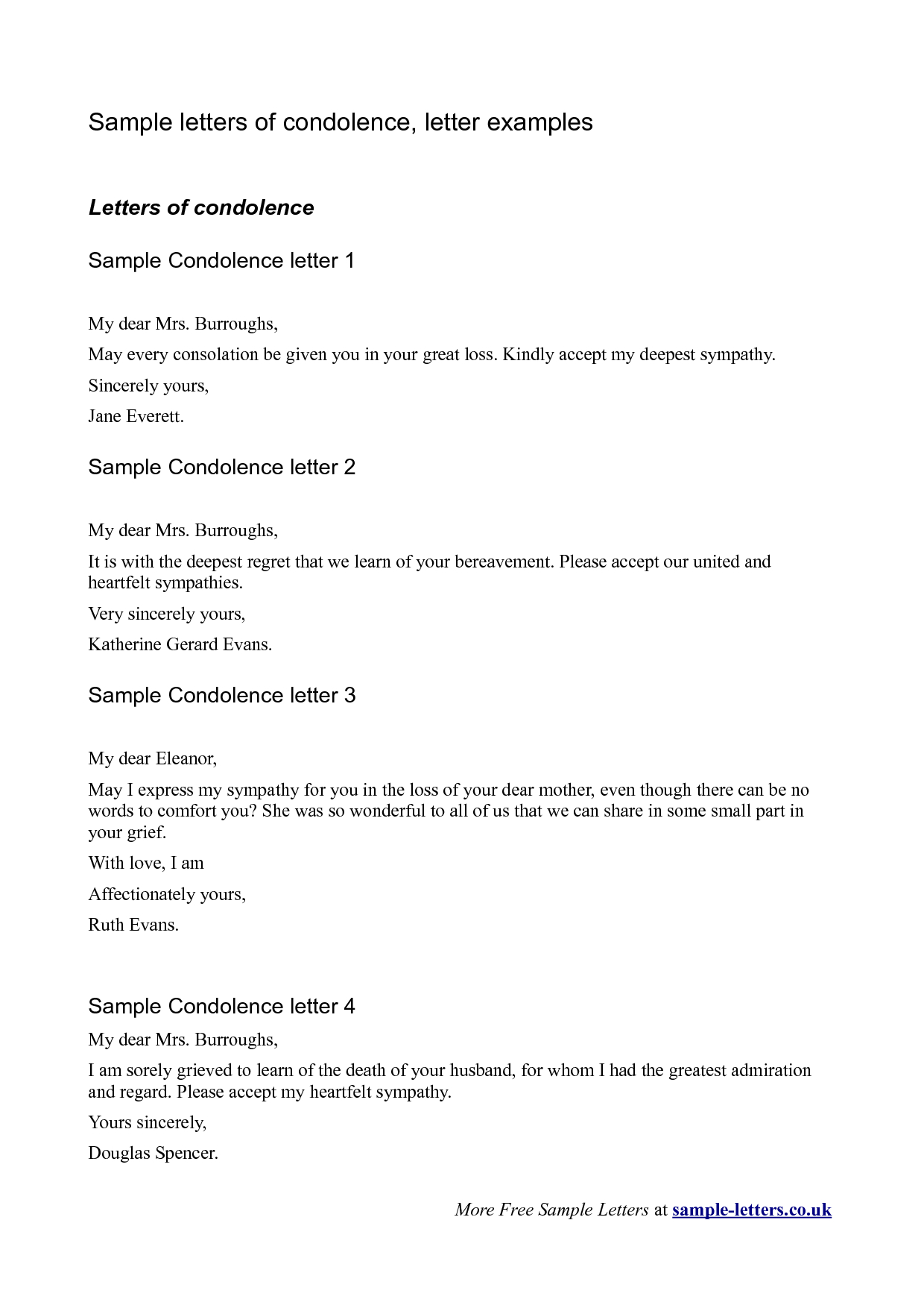 Grief Letter Template - Bereavement Sympathy Letter A Simple yet sincere Letter Of