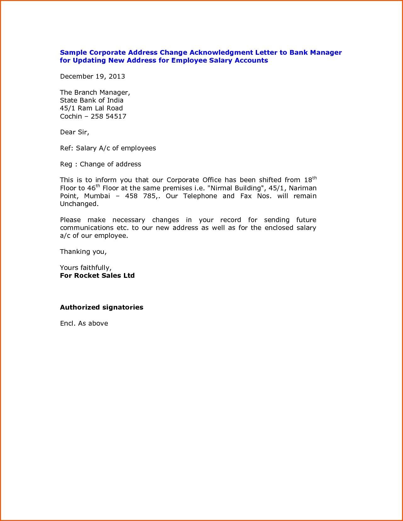 Change Of Address Letter Template - Best Letter format Address Change In Bank