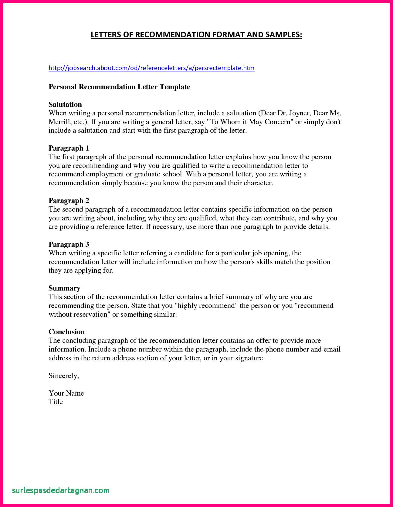 Sample Letter Of Recommendation Template Free - Best Re Mendation Letter Template for Job