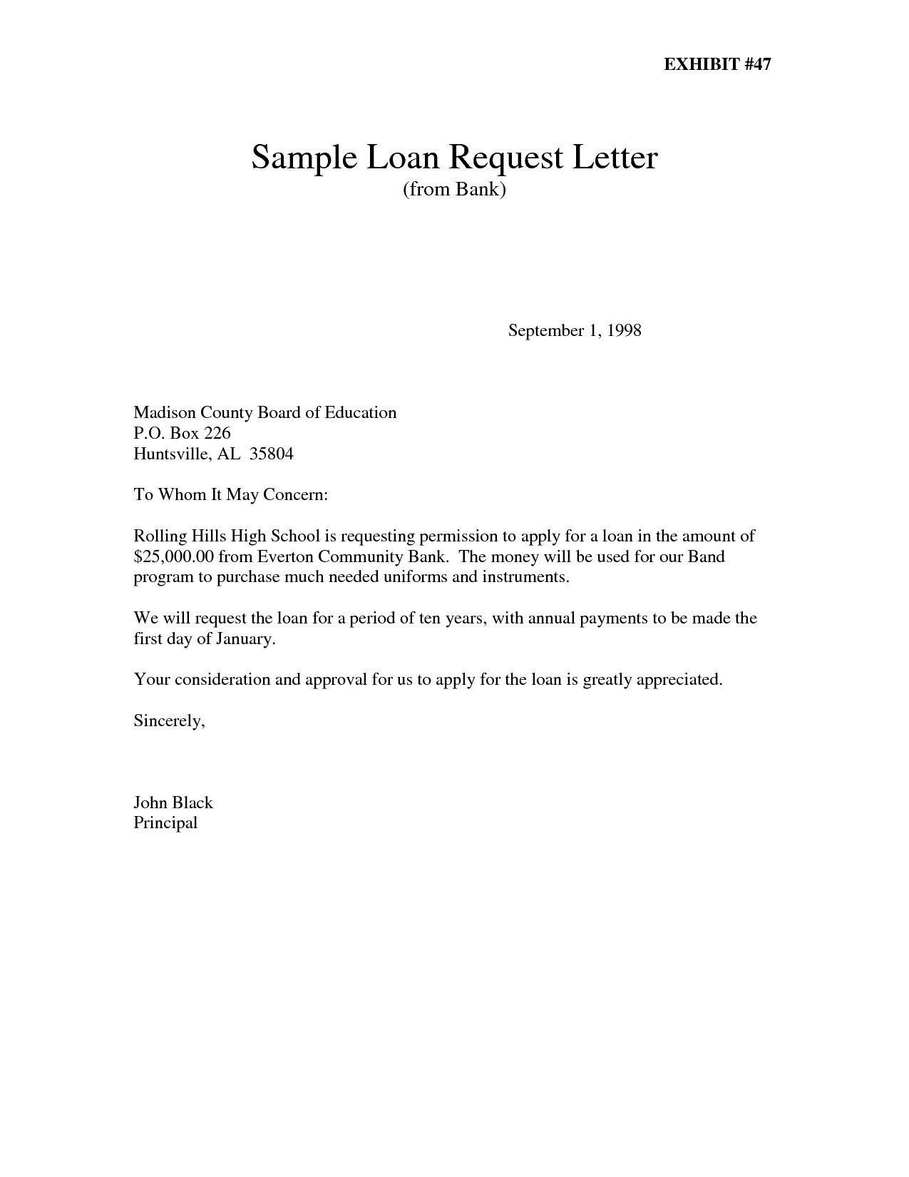Personal Loan Letter Template - Best Request Letter to Bank Loan