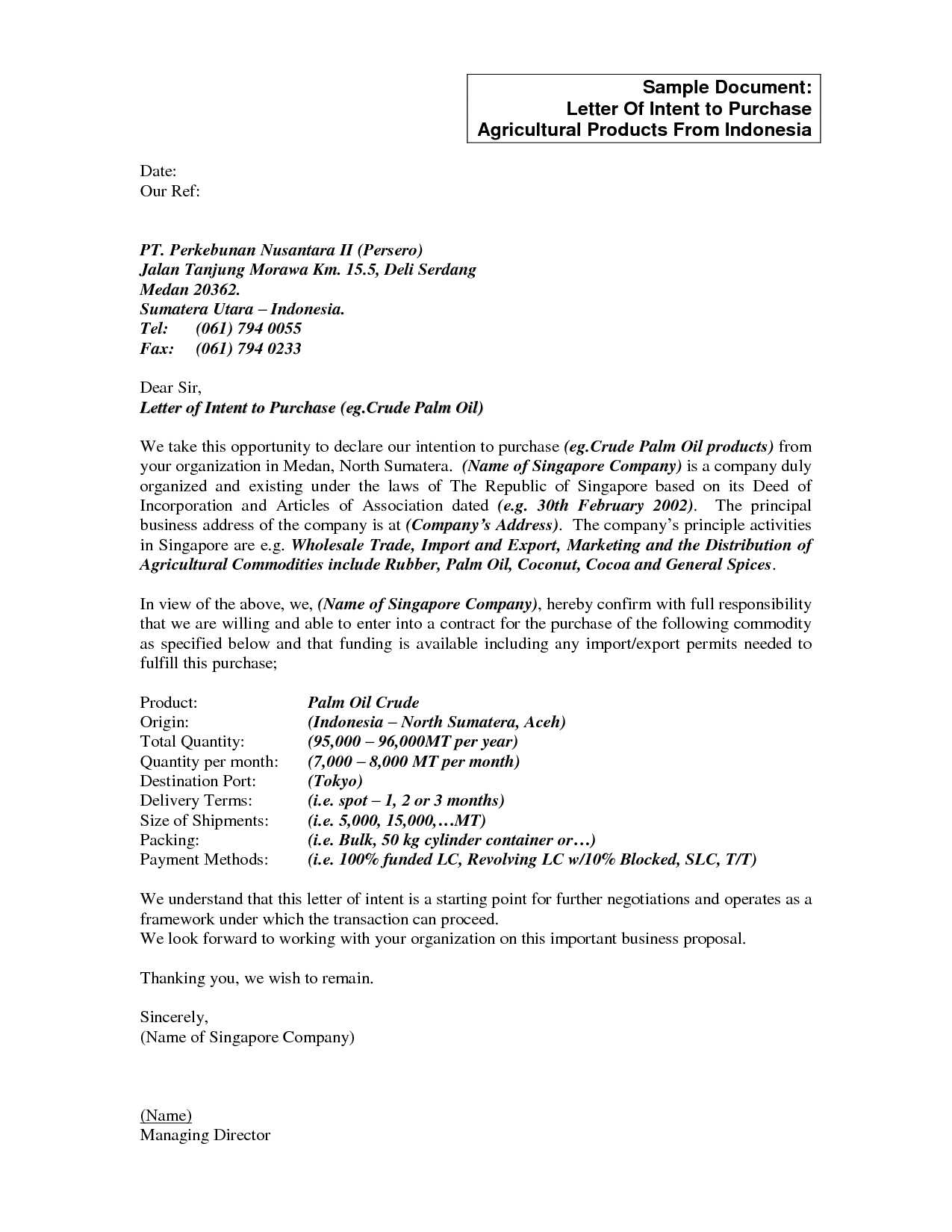 letter of intent to purchase a business template examples letter