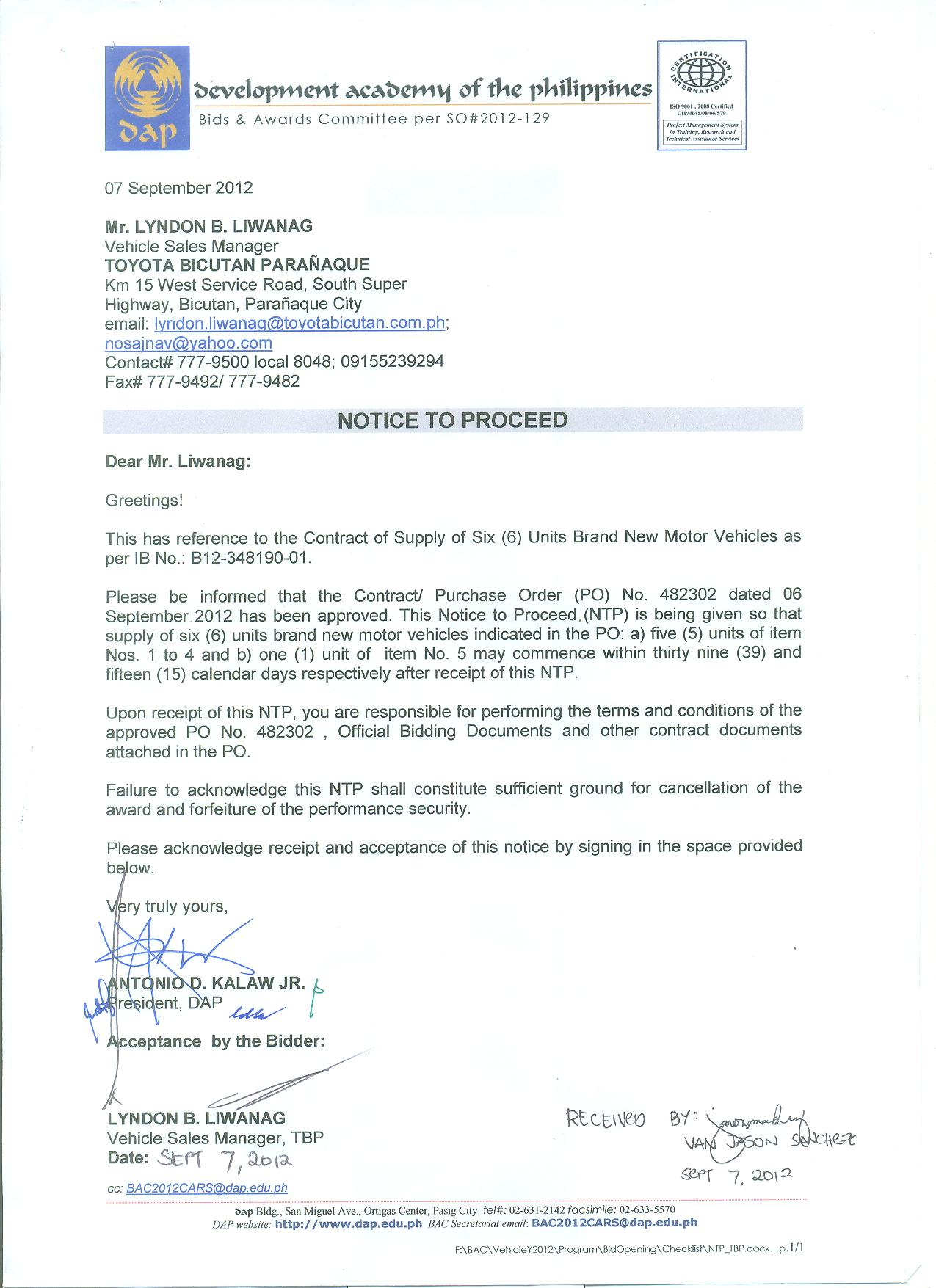 Rfp Award Letter Template - Bids and Awards Development Academy Of the Philippines