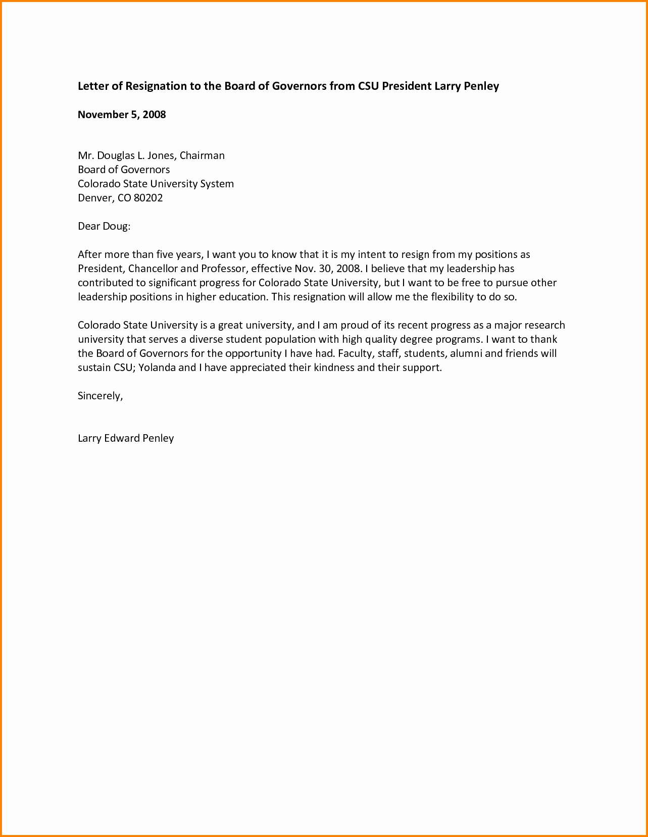 sample resignation letter from board of directors