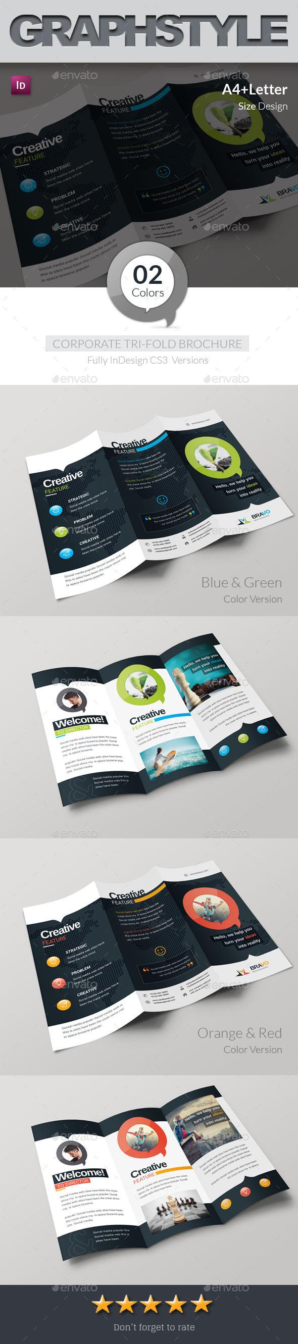 Letter Size Tri Fold Brochure Template - Bravo Corporate & Creative Tri Fold Brochure Template Design