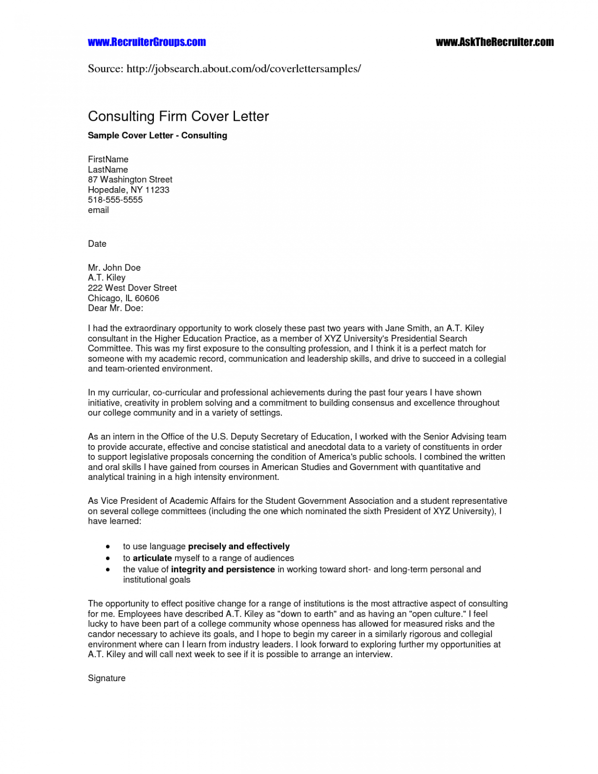 Fancy Letter Template - Brilliant Ideas Cover Letter for Consultant Enom Warb Fancy with