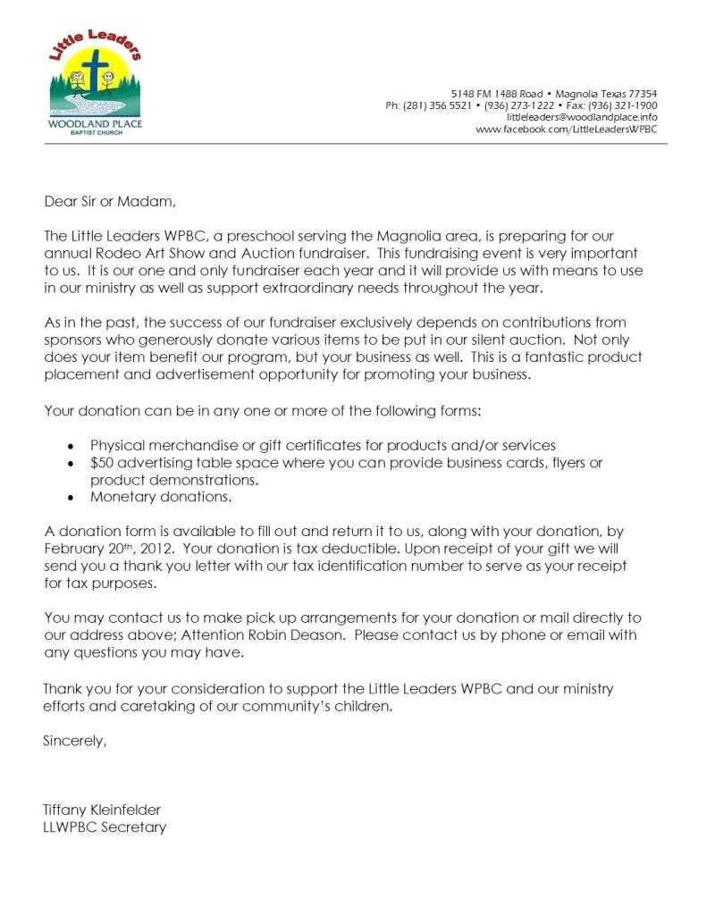 Church Donation Letter for Tax Purposes Template - Business Donation Letter Template