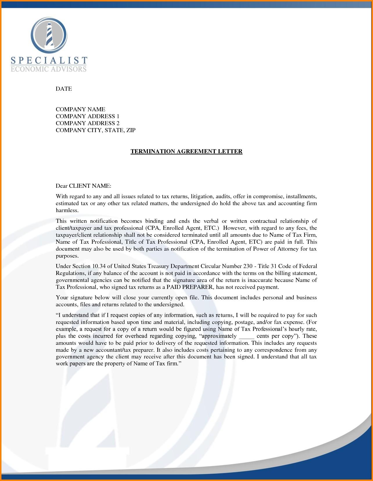 Client Termination Letter Template - Business Letter format for Termination Refrence 2 Termination Letter