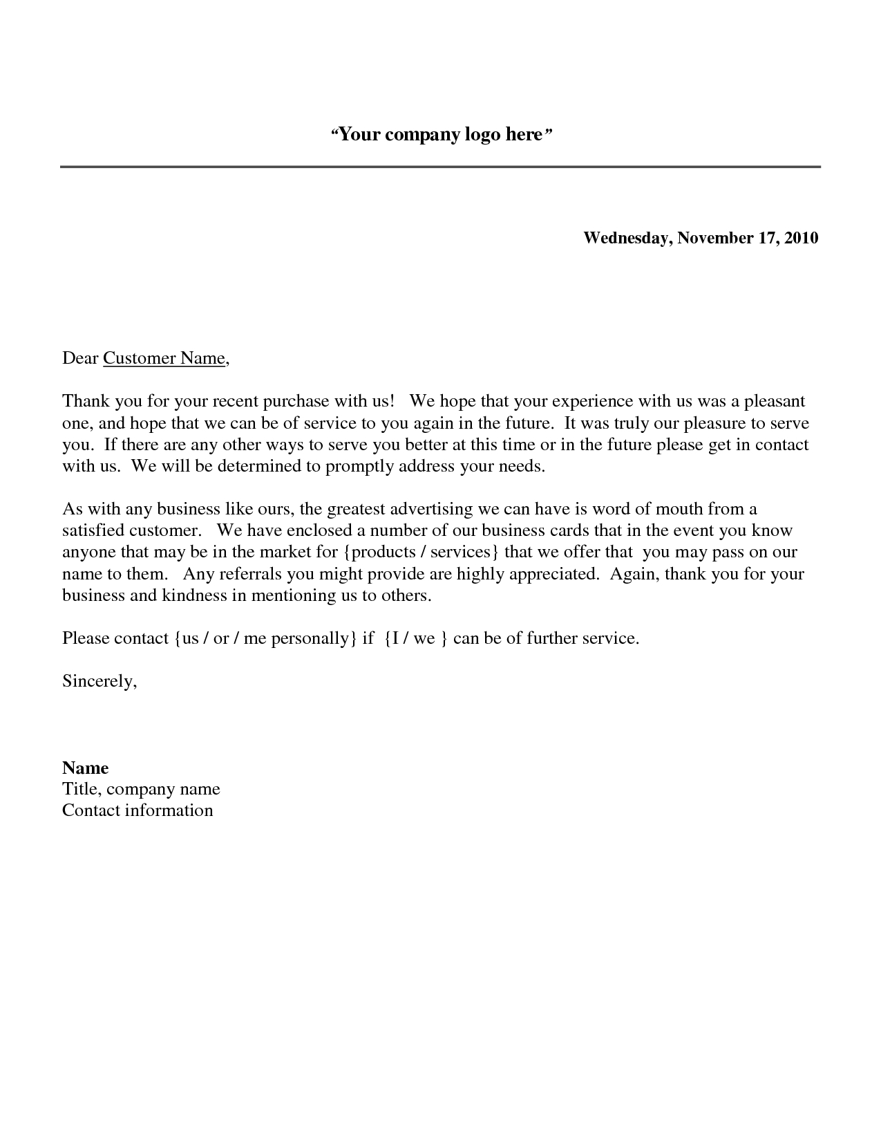 Thank You Letter Business Template - Business Letter to Customer Acurnamedia