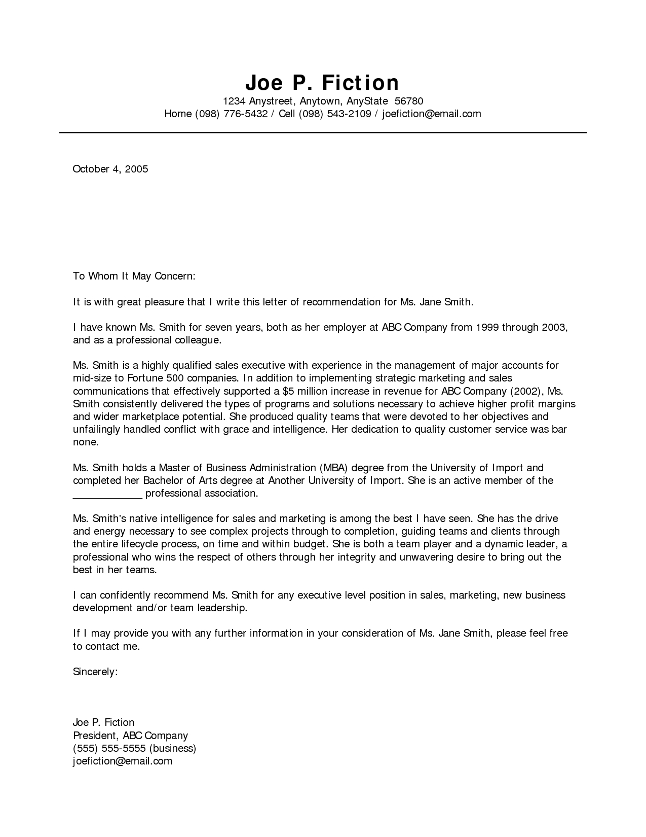 Professional Letter Of Recommendation Template - Business Re Mendation Letter Template Acurnamedia