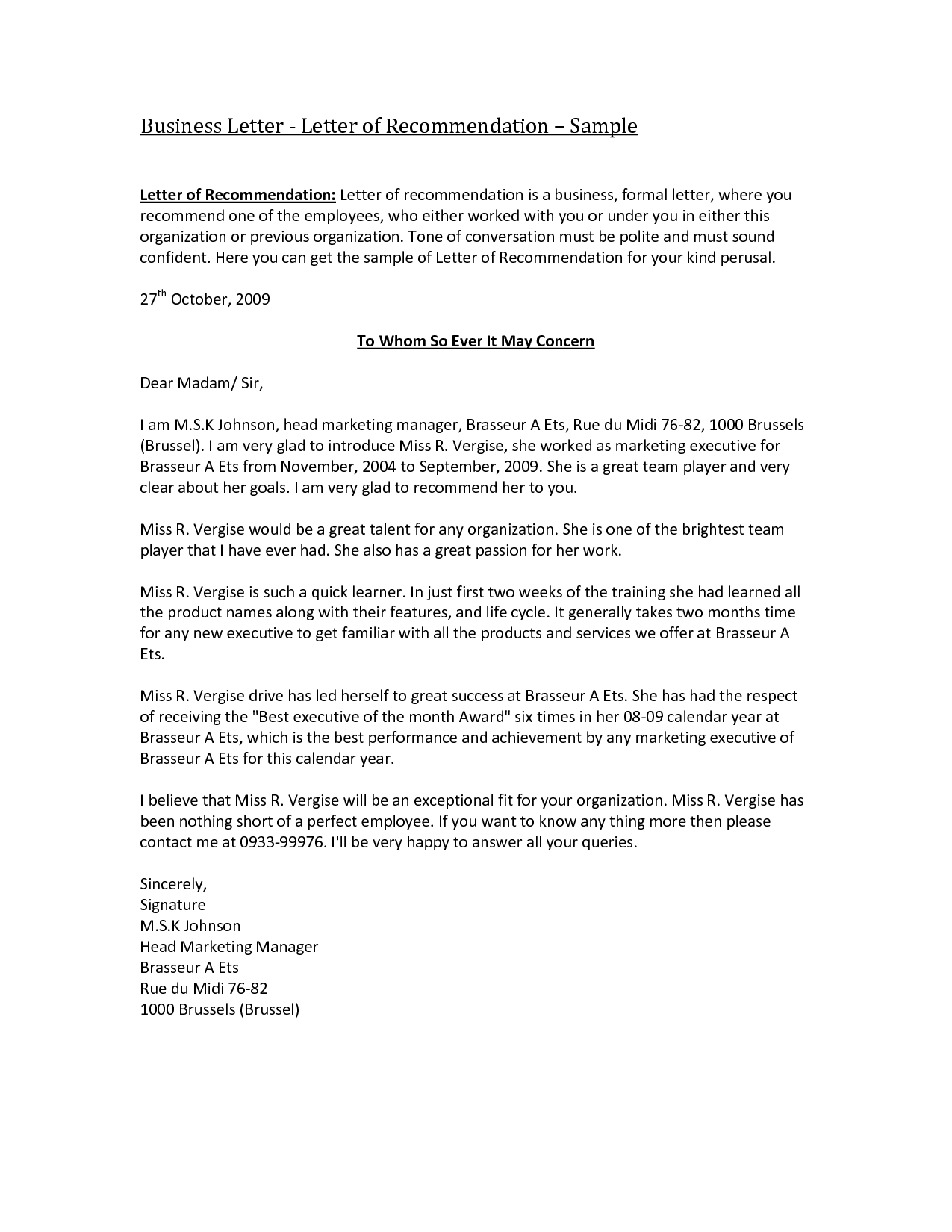 Sample Template for Letter Of Recommendation - Business Re Mendation Letter Template Acurnamedia