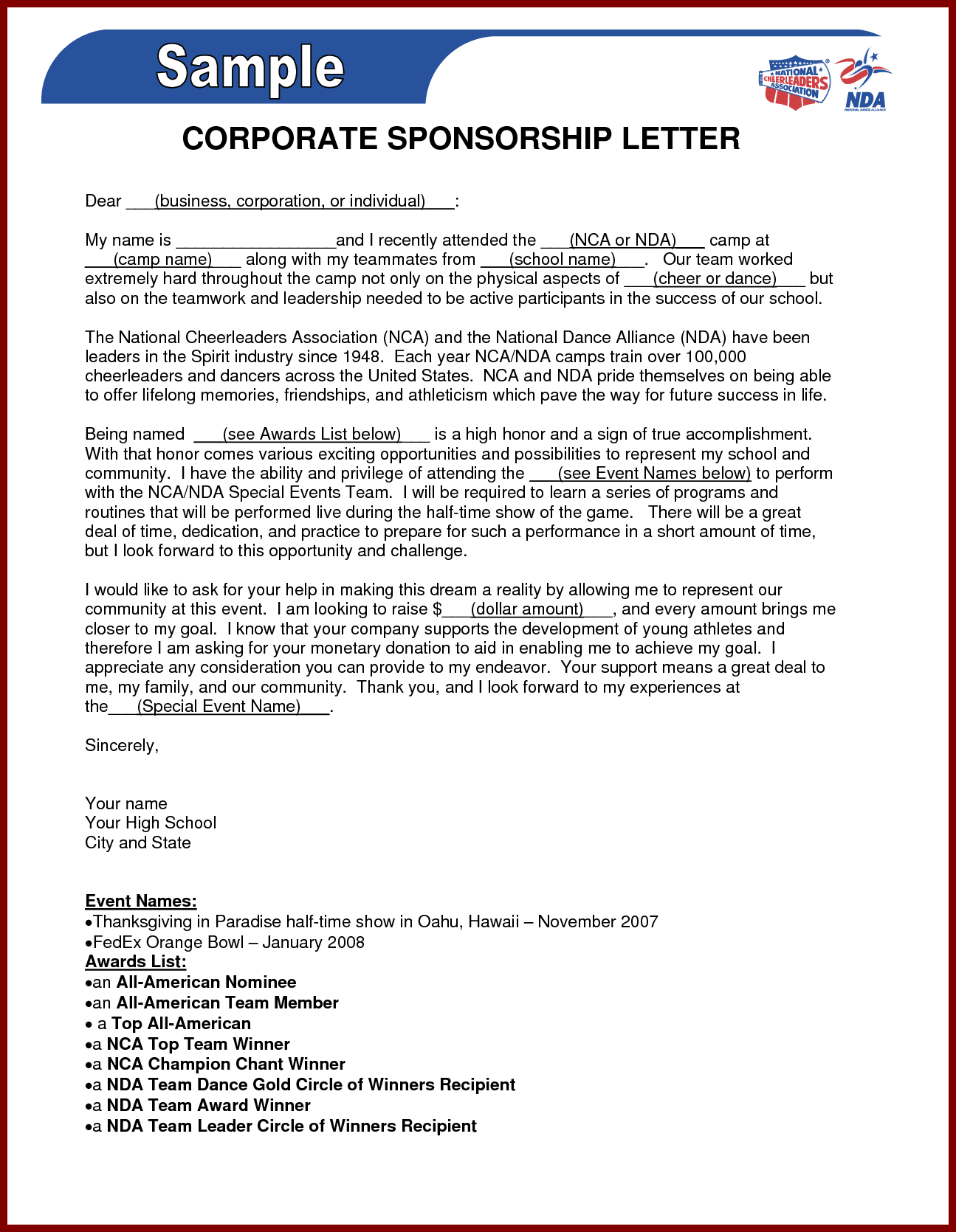 Golf tournament Sponsorship Letter Template - Business Sponsorship Letter Template Gallery Business Cards Ideas