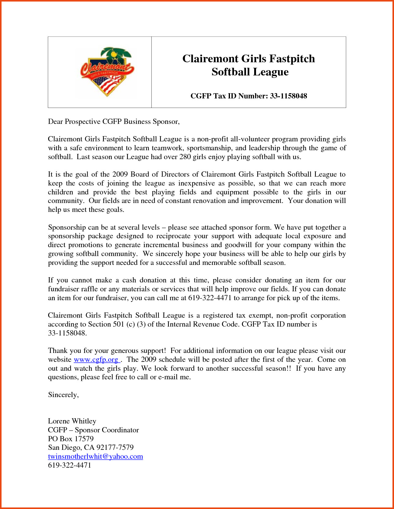 Softball Sponsorship Letter Template - Business Sponsorship Letter Template Gallery Business Cards Ideas