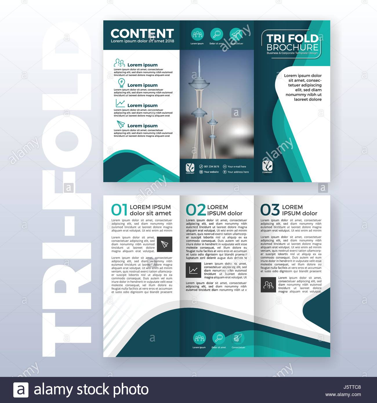 Letter Size Tri Fold Brochure Template - Business Tri Fold Brochure Template Design with Turquoise Color