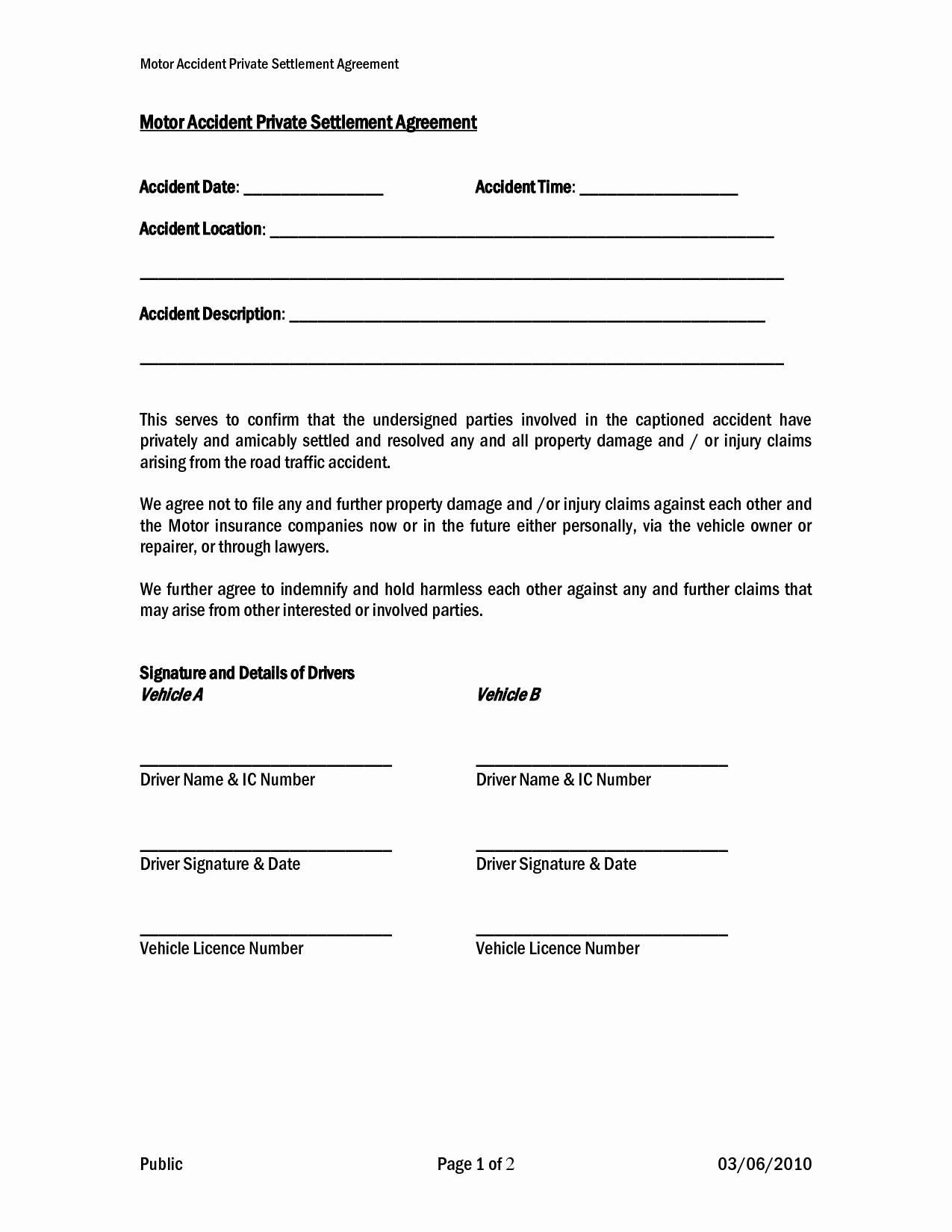 Car Accident Settlement Letter Template - Car Accident form Template Lovely Car Payment Agreement Letter