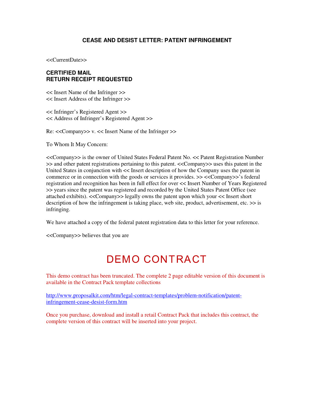 Cease and Decease Letter Template - Cease and Decease Letter Template Infringement Desist form Cp Patent