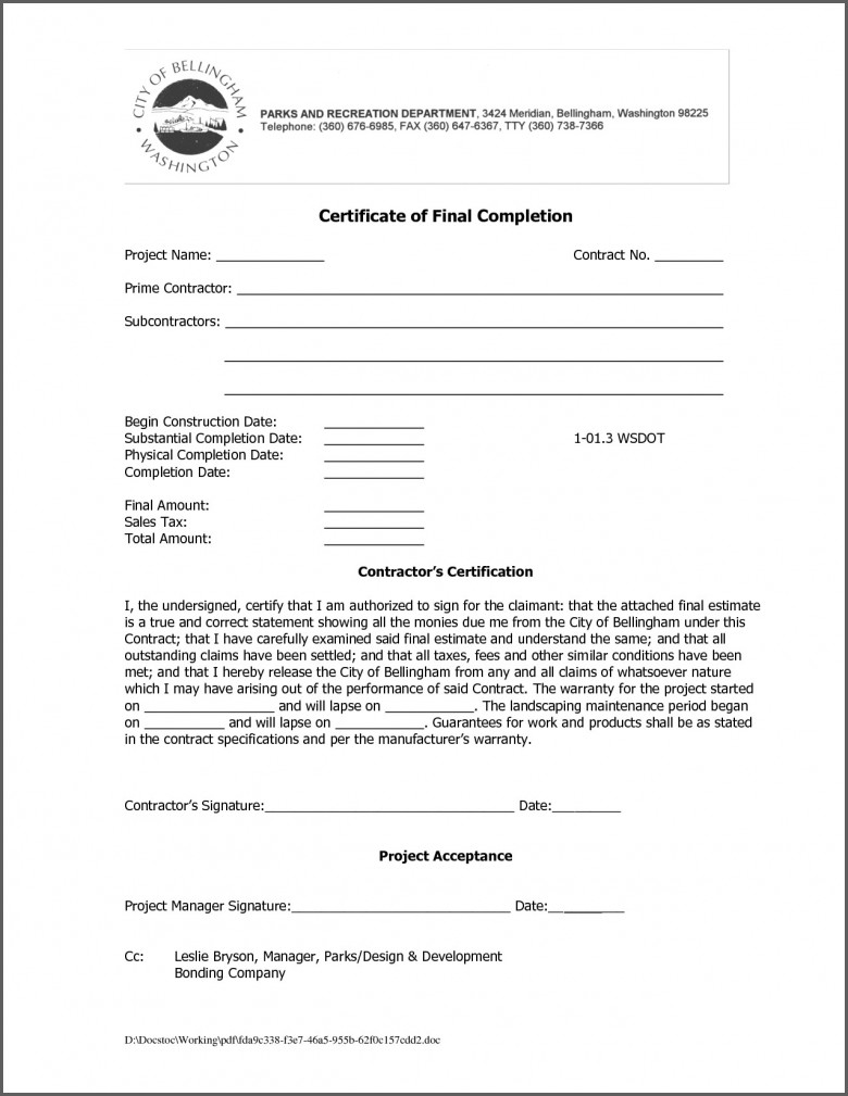 Letter Of Substantial Completion Template - Certificate Templates Certificate Final Pletion Template