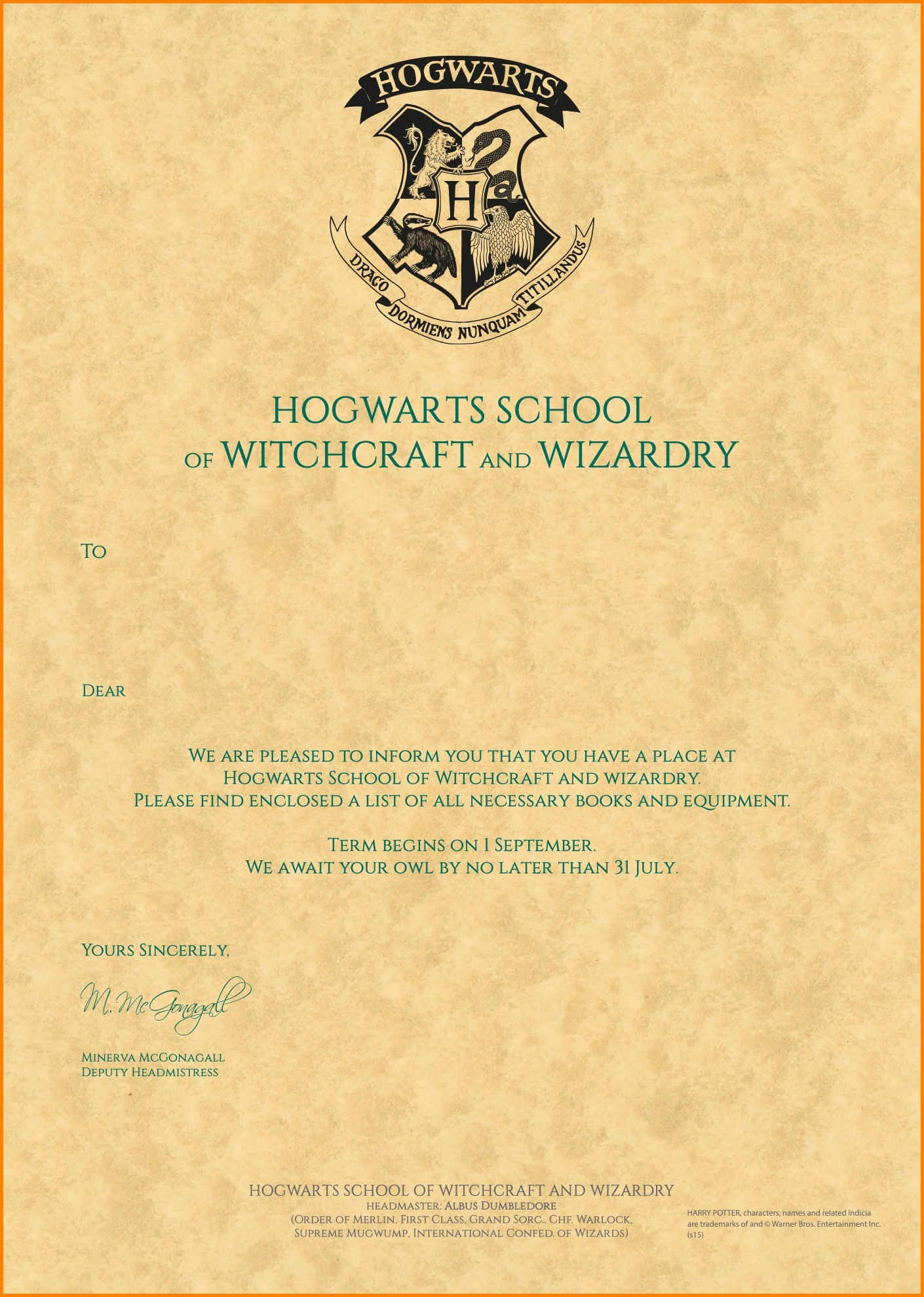 Harry Potter Letter Template - Certificate Veterinary Inspection Harry Potter Letter Template