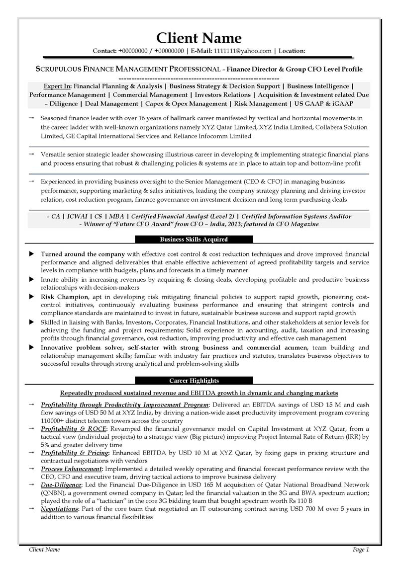 Reliance Letter Due Diligence Template - Cfo Resume Executive Summary Cfo Resume Examples Cfo Sample Chief