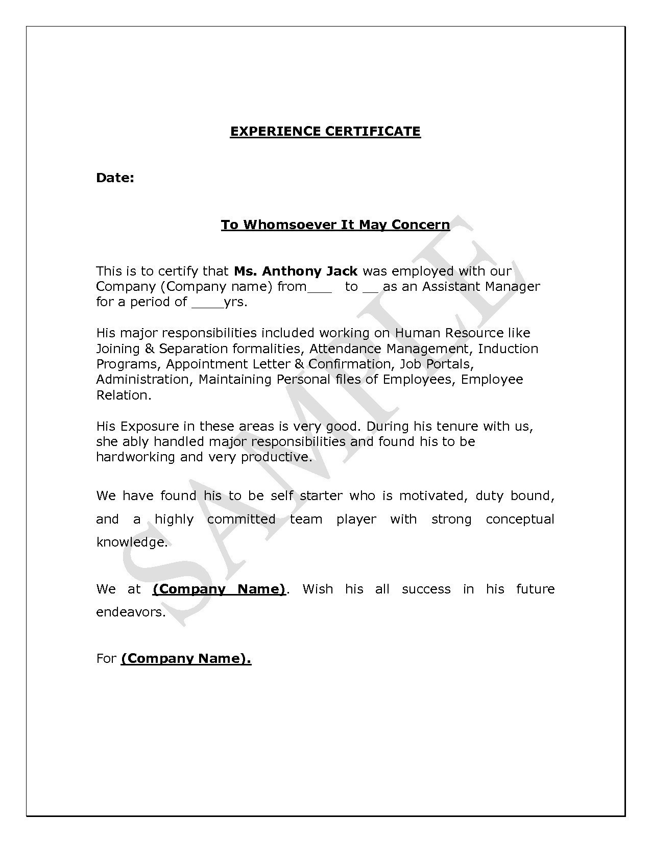 Employment Confirmation Letter Template Doc - Character Certificate format In Doc Best Job Application Letter