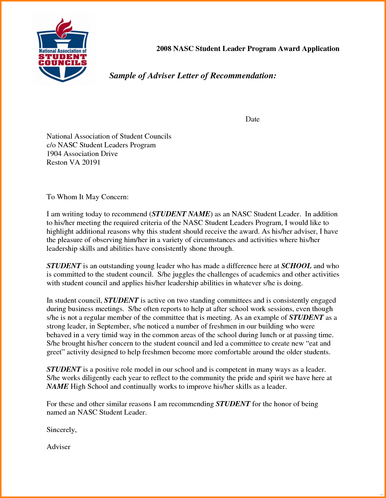 Template For Writing A Letter Of Recommendation For A Scholarship
