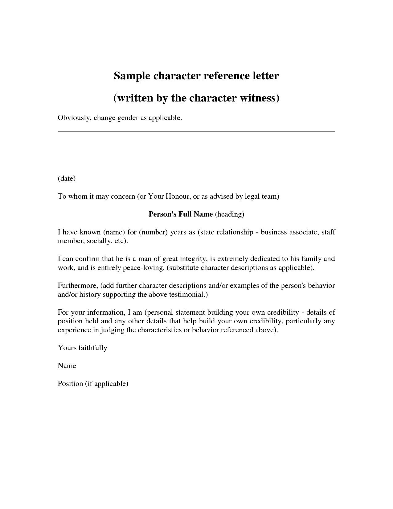 Court Reference Letter Template - Character Reference Letter Template Doc New Writing Letter Reference