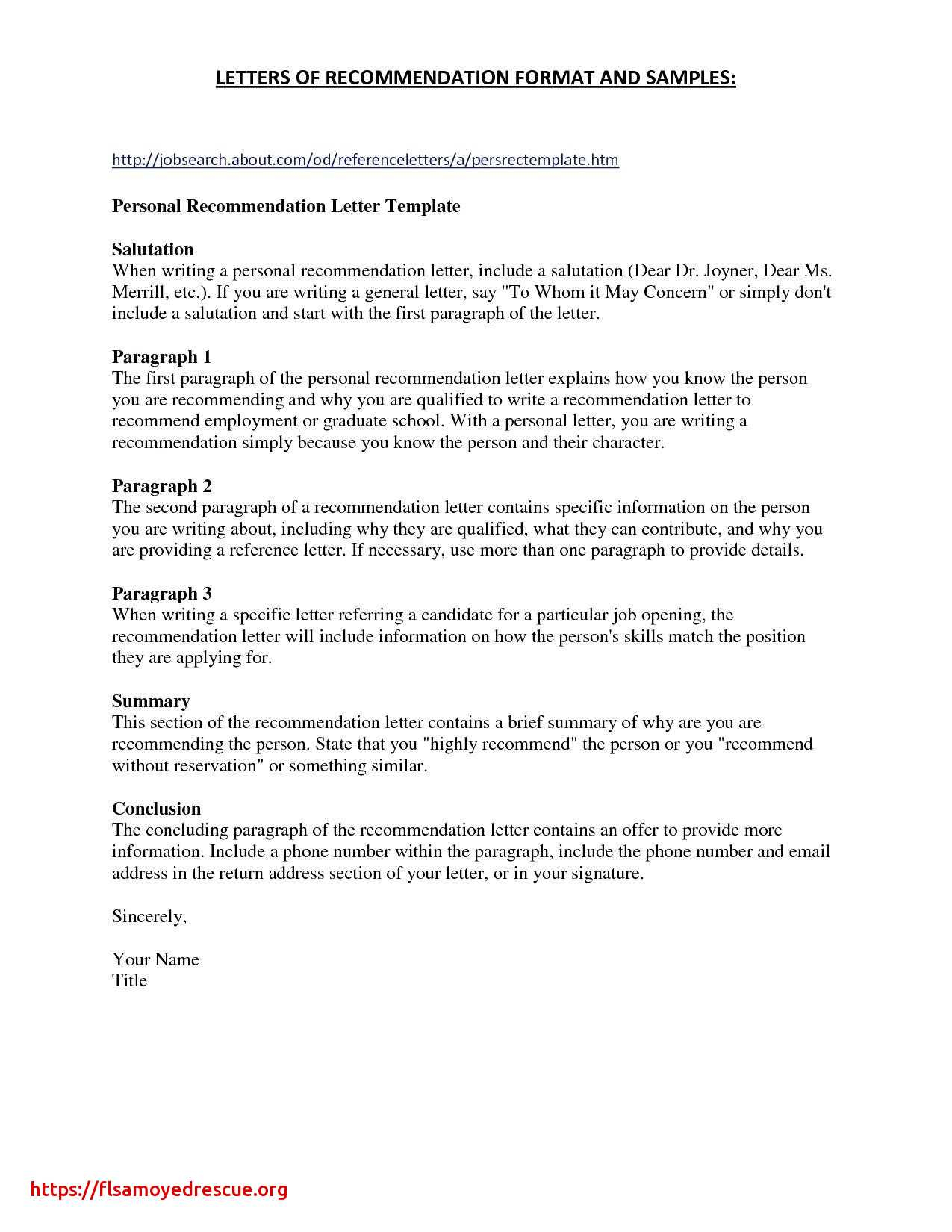 Generic Letter Of Recommendation Template - Character Reference Letter Template Doc New Writing Letter Reference
