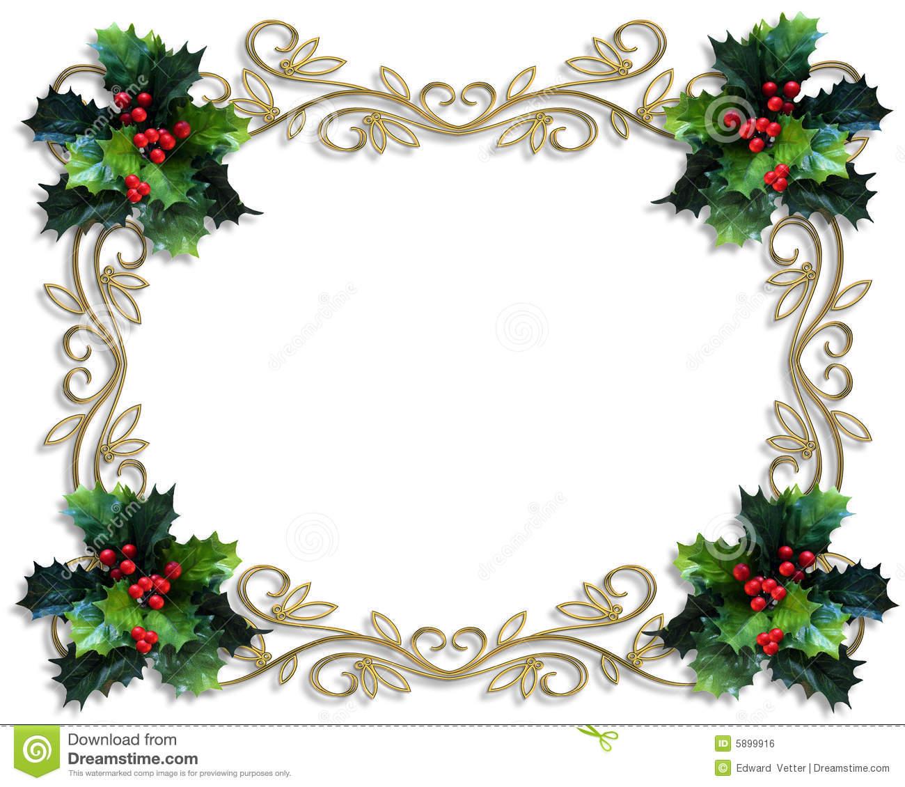 Christmas Letter Border Template - Christmas Border Holly Gold Frame Stock Illustration Illustration