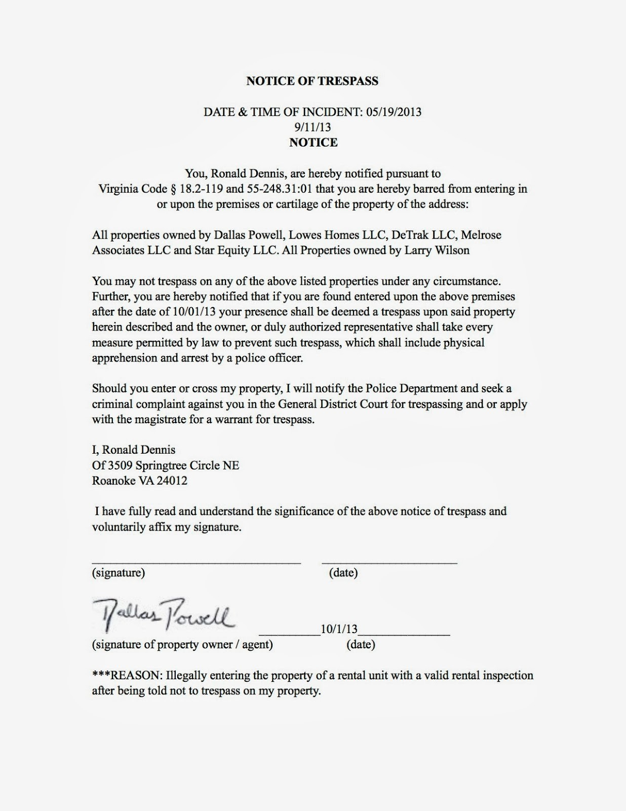 cease and desist trespassing letter template