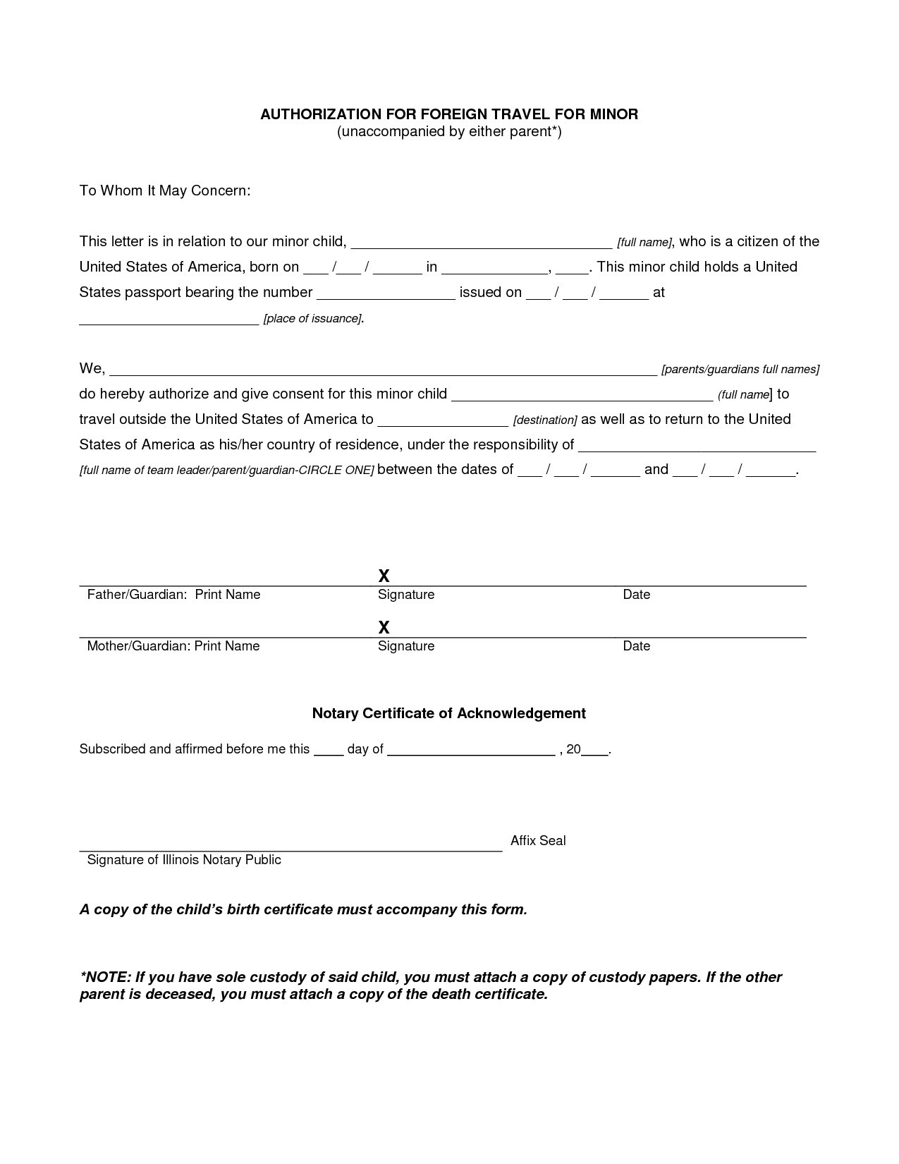 child travel consent letter template