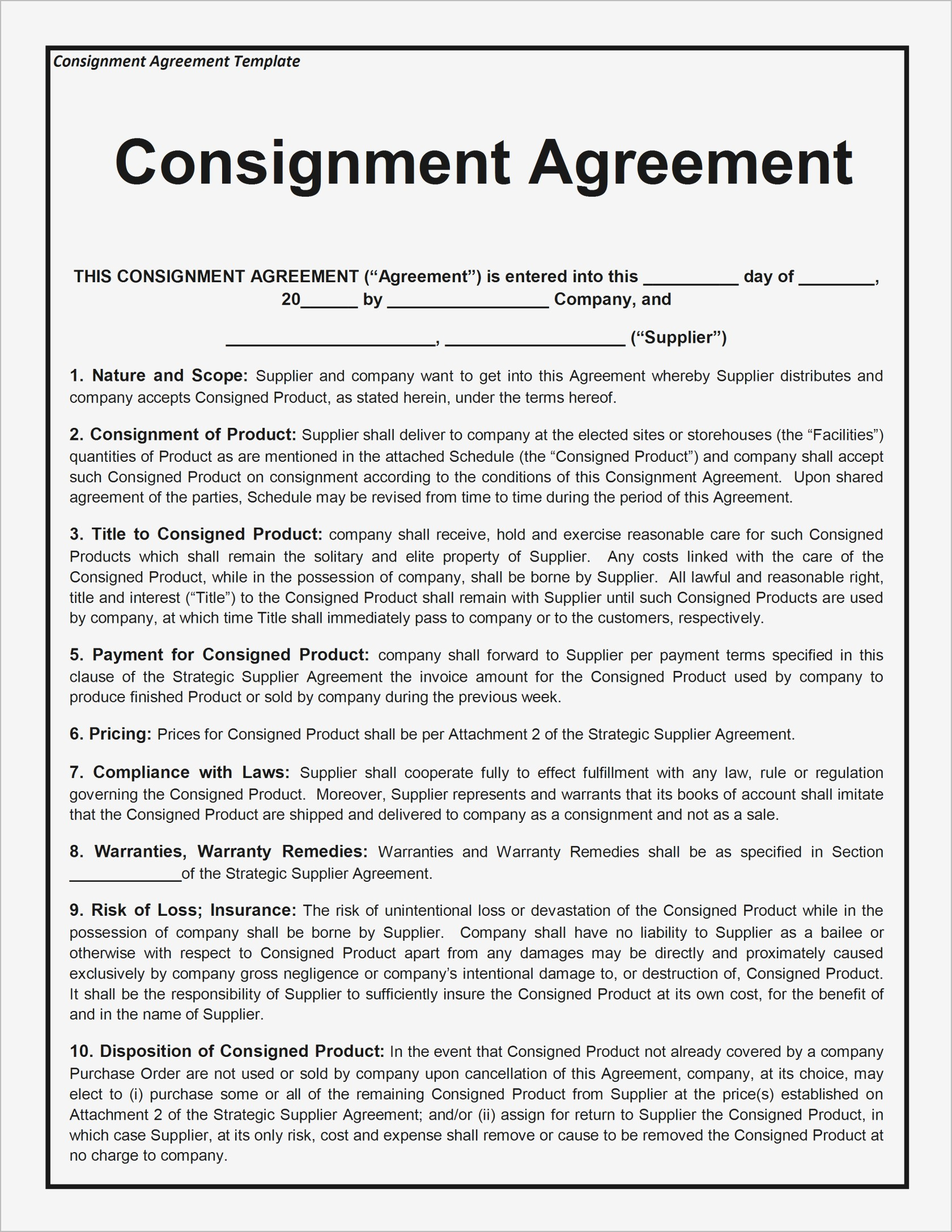 Consignment Letter Template - Consignment Agreement Template Samples
