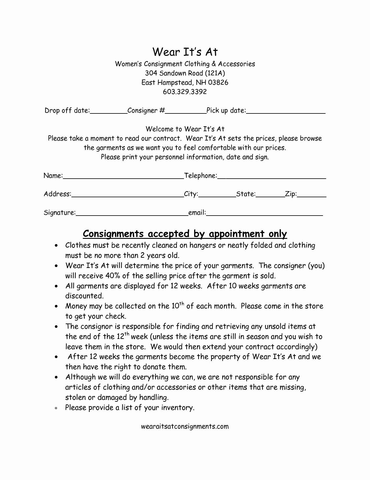 Consignment Letter Template - Consignment Store Contract Template