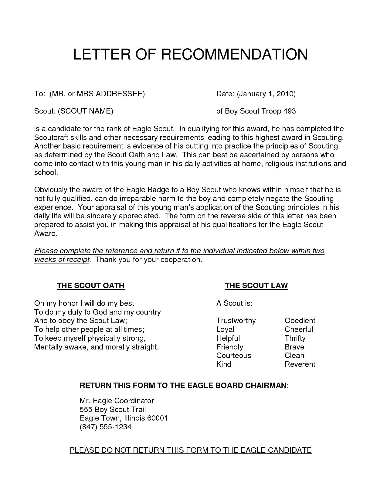 Eagle Recommendation Letter Template - Content 2016 10 Eagle Scout