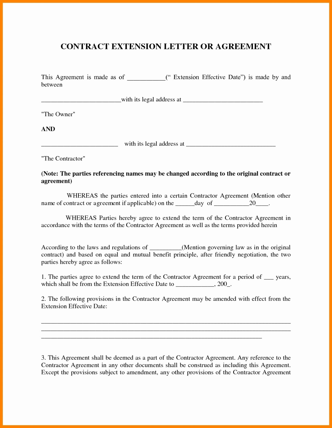 Contract Negotiation Letter Template - Contract Agreement Letter New Free Parent Child Contract Templates