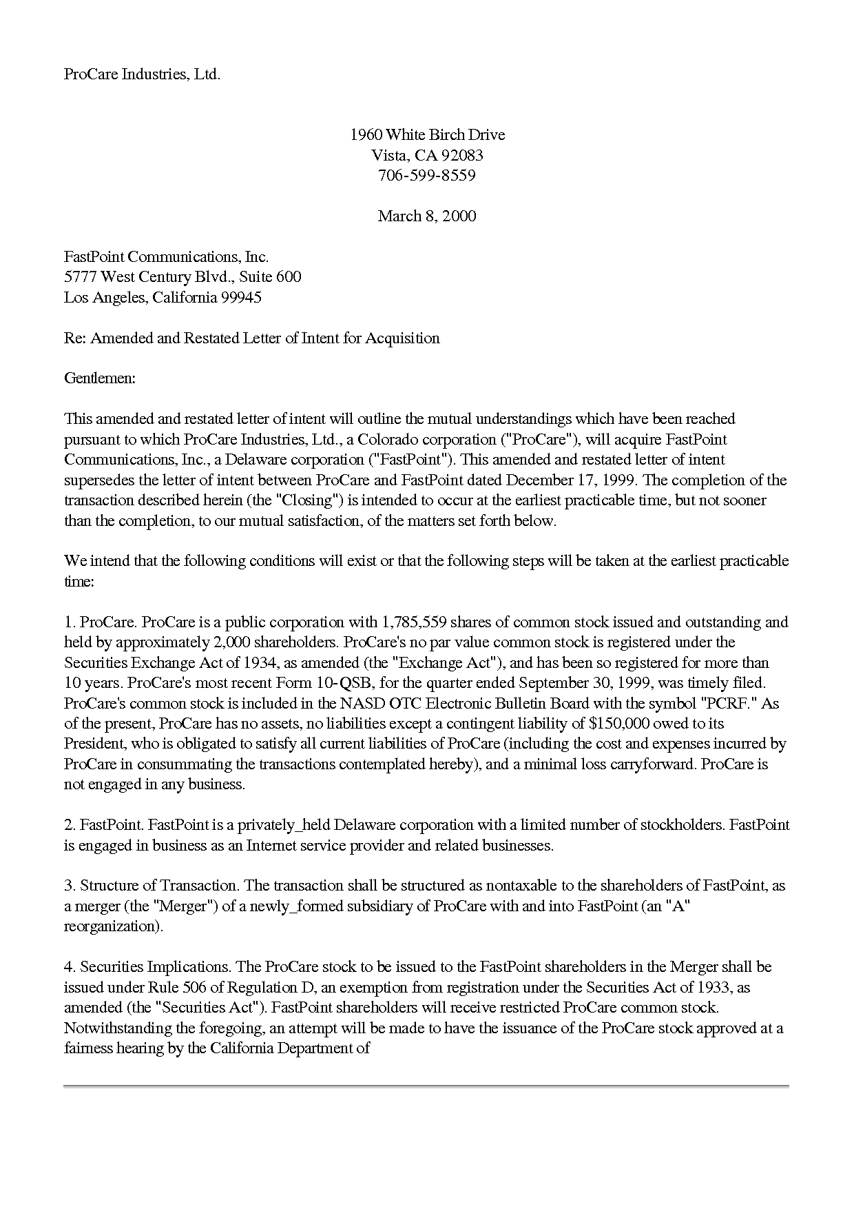subcontractor letter of intent template examples