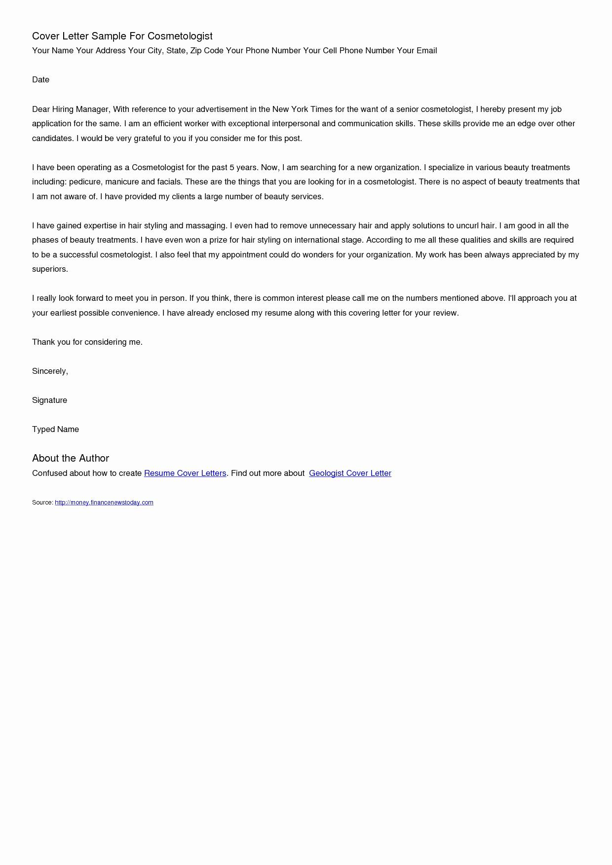 cosmetologist cover letter template Collection-Cosmetology Cover Letter Samples Awesome Resume Templates 10-f